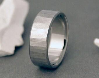 Tree Bark Titanium Ring, Wood Titanium Band, Mens Ring, Womens Ring, Wedding Rings, Titanium Wood Ring, Textured Ring, Wood Grain Titanium