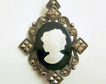 Sterling Onyx MOP Cameo Marcasite Pendant Necklace Brooch Pin