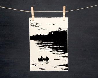 Canoe Bay - LINOCUT - hand printed