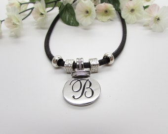 Letter  B Pendant with Black 4mm Cord Necklace an Sterling Silver Charms