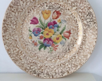 H&K Tunstall Pottery 'Old English Sampler' Patterned Plate