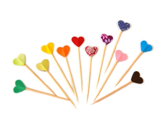 Party Picks Cupcake Toppers - Rainbow Colorful Hearts