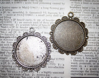 75% OFF DIY Necklace Pendant 1 inch (25 mm) Round flower Vintage Edged Pendant Trays blank  Bezels Settings Lead Nickel Free jewelry making