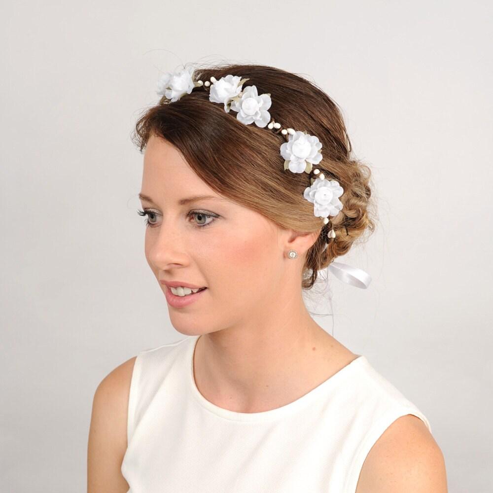 Wedding White Flower Crown: Wedding Flower Headband White Floral Crown By VelvetTeacup