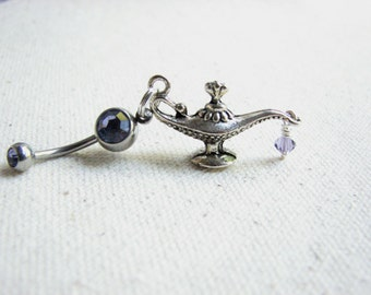 Genie Bottle Belly Ring Aladdins Magic Lamp Belly Button Jewelry Bellybutton Ring Navel Piercing