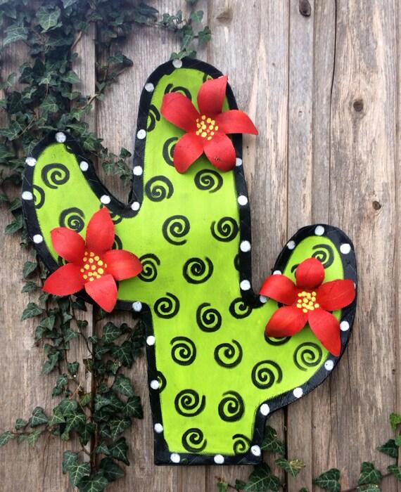 Cactus Screen Door Hanger Wreath By Doornament On Etsy