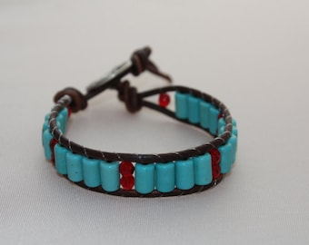 single wrap bracelet - howlite beads - turquoise jewelry - beaded wrap - free shipping