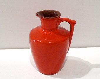 Frankoma 838 Pitcher Flame Glaze Vintage Small Jug Orange Creamer Flower Vase 1960s Atomic Kitchen Ceramic Frankoma Pottery Oklahoma