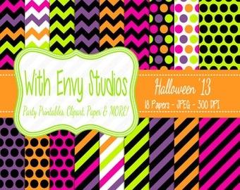 50% OFF Halloween Digital Scrapbook Paper Pack - Halloween Scrapbook Paper Set - Commercial Use