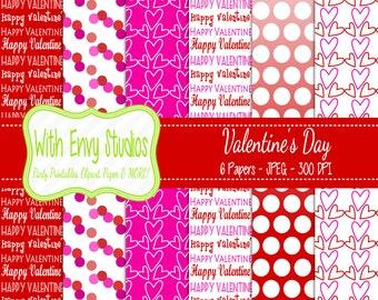 SALE Valentines Day Digital Scrapbook Paper Pack - Valentine Scrapbook Paper Set - Red and Pink Paper - Ombre Paper