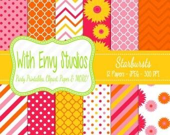 SALE  Pink and Orange Scrapbook Paper Pack - Modern Floral Digital Paper Pack - Patterned Digital Paper - Commercial Use OK