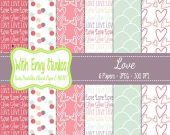 SALE  Valentines Day Digital Scrapbook Paper Pack - Valentine Scrapbook Paper Set - Pink Paper - Love Valentine - Heart Paper