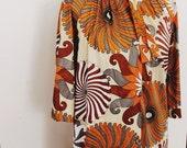 Vintage Retro 70s 60s Floral Silk Hippie Dress Robe