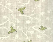 BlueBird Park by Moda, Floral Fabric, Bird Fabric, 1/2 yard Fabric