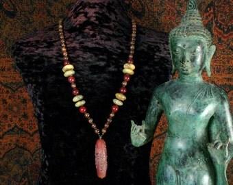 Dzi Bead, Jade Gemstone, Handmade Necklace, Buddha Jewelry, Tibetan, Dzi Pendant Necklace, Ethnic Jewelry, Yoga Necklace, Buddhist Necklace