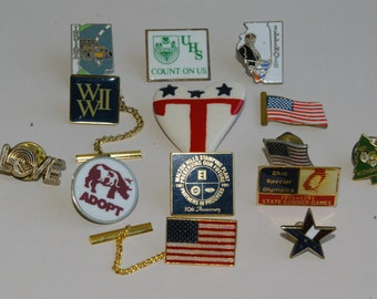 Lot of 14 Patriotic, State, Company and Charity Pins