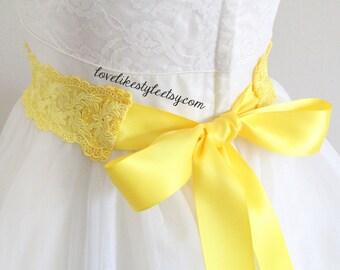 Yellow  Hand Dyed Soft Venice Lace with Yellow Satin Ribbon Sash, Bridal Yellow  Sash, Bridesmaid Yellow Sash