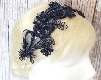 Navy Beading Lace Headband / Bridal Navy Headband, Navy Lace Head Piece
