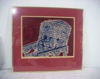 "Mid Century Original Woodcut, ""Chair"" Artist Proof, Signed, Framed, Fabulous!"