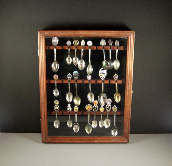 Glass front wooden collector spoon cabinet rack plus 22 for Wedding dress shadow box for sale