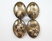 18X25mm vintage style Mr.and Mrs.Animal dog,cat,duck,rabbit couples oval glass cabochon DIY supplies findings 4120056