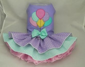 Small dog harness dress. Tutu skirt. Balloons applique