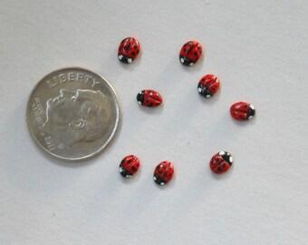 "Ladybugs-Itsy Bitsy Polymer Clay Lady Bugs/1/8"" diameter/OOAK/Set of 8/Fairy Garden/Terrarium/Train Scenes"