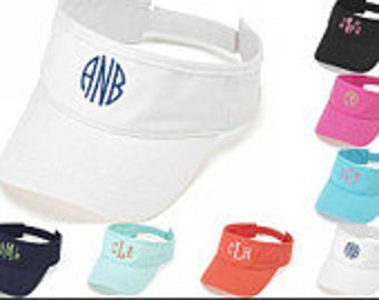 Monogrammed soft cotton  visor in great summer colors.  Your choice of font and color
