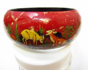 Vintage Laquer Story Bracelet Safari Folk Art Lion Gazelle Rabbits
