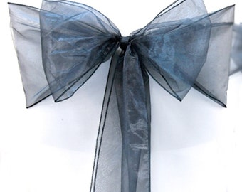 Chair Sashes Navy Wedding Chair Sashes Corporate Events  Chair Bows Navy Organza Pew Bows Party Bows Event