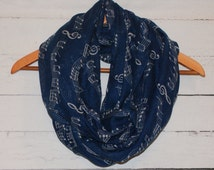 Navy Music Notes Scale Treble Clef Print Infinity Scarf Circle Cowl Note Band Orchestra Composer Director Gift Idea Amy Anne