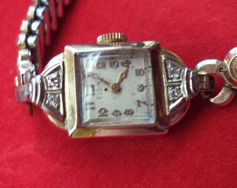 Outstanding Art Deco ELGIN 14K Solid Yellow Gold 4 Diamonds Ladies Watch with Case Just SERVICED Shop for Birthdays Weddings