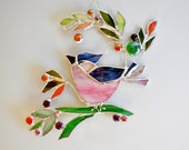 Made To Order. Bird And Berries. Pink Blue Bird. Stained Glass Bird. The Happy Bird. Home Decor. Stained Glass Suncatcher
