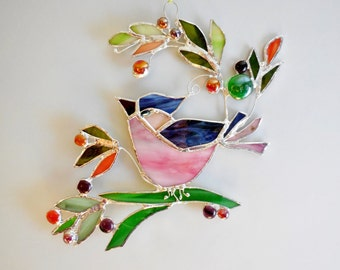 Bird And Berries Pink Blue Bird Stained Glass Bird The Happy Bird Home Decor Stained Glass Suncatcher Made To Order