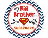 Big Brother Superhero Sibling Sticker - Pregnancy Announcement Sticker - Big Bro - Little Brother - Toddler Tshirt Sticker