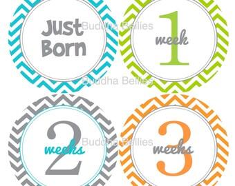 Baby Boy Stickers - First Month - Baby Boy Newborn Set Neutral Newborn Stickers Just Born plus 1-3 Weeks