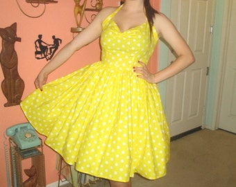 1950s Polka Dot Swing Dress Halter Style Full Skirt Yellow and White Retro Rockabilly PinUp Summer Fun