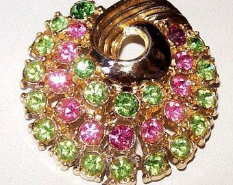 "Pastel Brooch Pin Pink Mint Green Rhinestones Swirl Design Gold Metal 2"" Vintage"