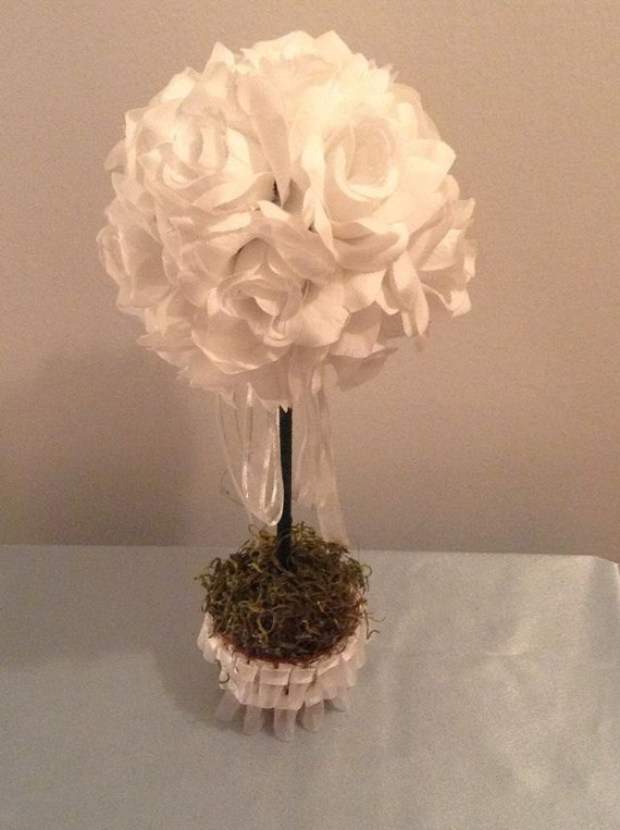 Rose Topiary Centerpiece : White topiary roses wedding flowers table
