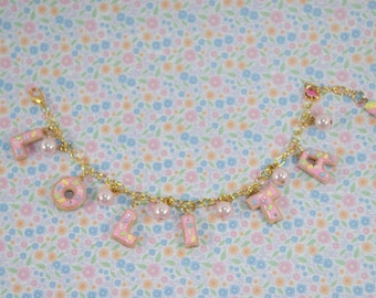 Lolita Cookie Bracelet Necklaces-Polymer Clay-Miniature Food-Kawaii-Sweet Lolita-Women Accessories-Pink-Cookies