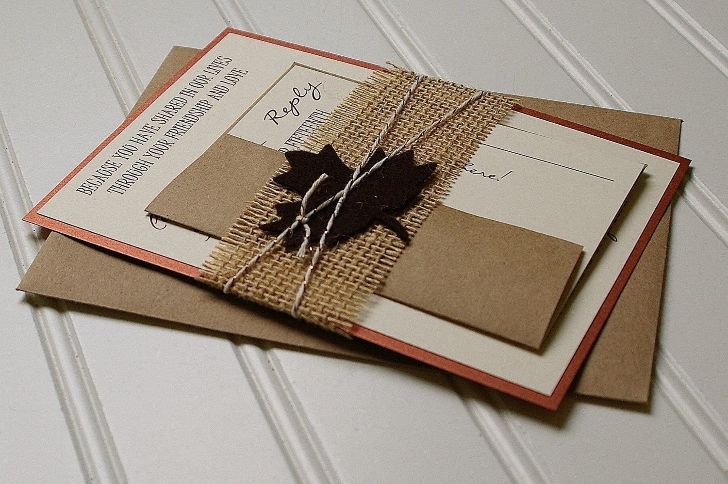Wedding Invitations With Burlap: Rustic Autumn Wedding Invitations: Copper Brown And Burlap