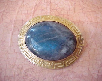 Beautiful Edwardian Era Gold Brooch/ Pendant Set with Labradorite in Greek Key Motif