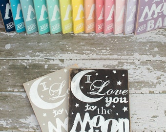 I Love You to the Moon and Back Wall Art Distressed Subway Typography Wood Sign
