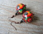 Hand painted Wooden Earrings Flower Earrings Colorful Earrings Folk style Earrings Russian style Jewelry MADE TO ORDER