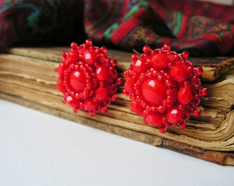Red Post Earrings Bead embroidery Earrings Red Stud Earrings Beadwork Earrings Glass Beads Earrings Red Earrings Red Jewelry MADE TO ORDER