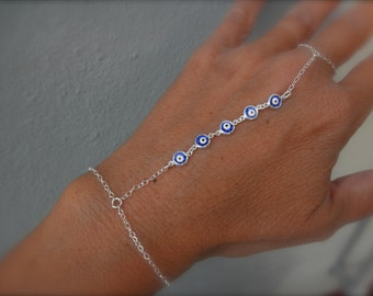 Multi blue evil eye slave bracelet on sterling silver