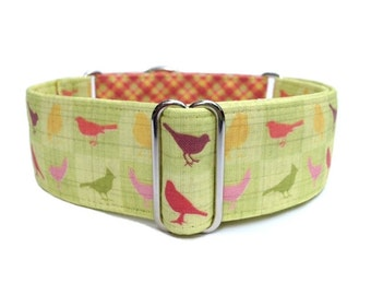 """Orchard Bird Plaid Dog Collar - 1"""" or 1.5"""" Martingale Collar or Buckle Dog Collar - Plaid and Songbirds Fabric Wrapped Collar"""