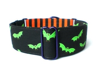 Halloween Bats Dog Collar - 1-inch or 1.5-inch Green, Black and Orange Bats and Stripes Halloween Martingale or Halloween Buckle Collar