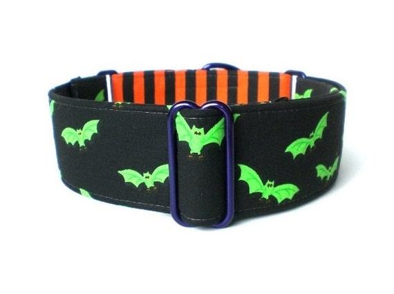 Halloween Bats Dog Collar - 1-inch or 1.5-inch Green, Black and Orange Bats and Stripes Halloween Martingale or Halloween Buckle Collar