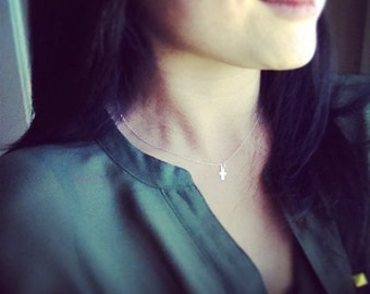Tiny Skinny Cross Necklace, Cross Necklace, Tiny Cute Cross Necklace, Dainty Cross Necklace, Everyday Jewelry, Holiday Gift, Easter Gift